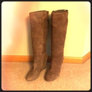 BCBGeneration knee high suede wedge boots EUC!